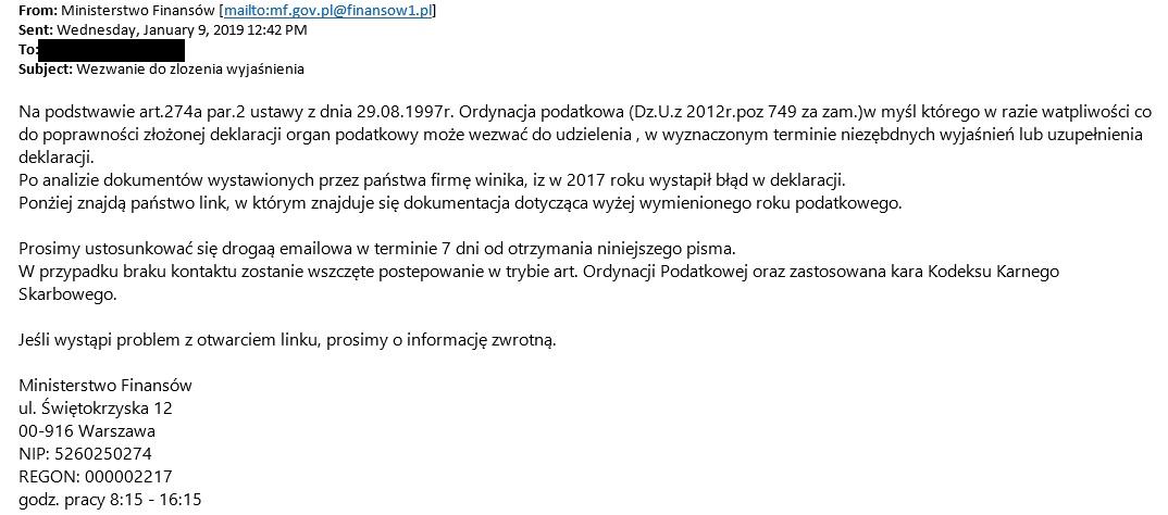 Ministerstwo Finansów ostrzega